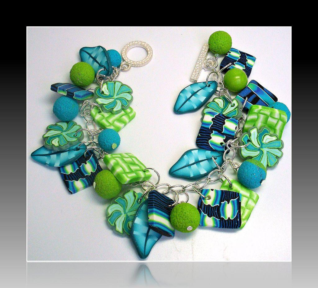 "Polymer Clay Charm Bracelet: Polymer Clay ""Summer Garden"" Charm Bracelet"
