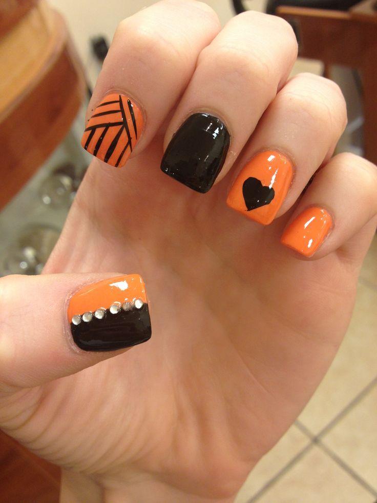 Black Heart On Orange Nails - Black Heart On Orange Nails Cute Nail Designs Pinterest Orange