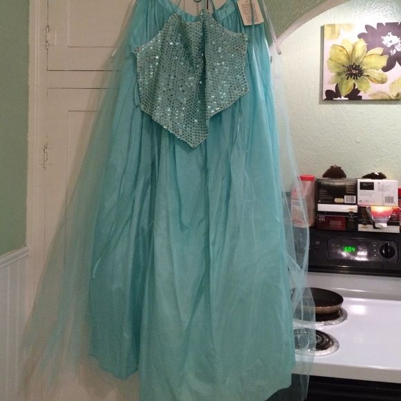 Blue 2 piece Prom Dress Never worn. Netting has small tear. Two piece with sequin top. City Triangles Dresses Backless
