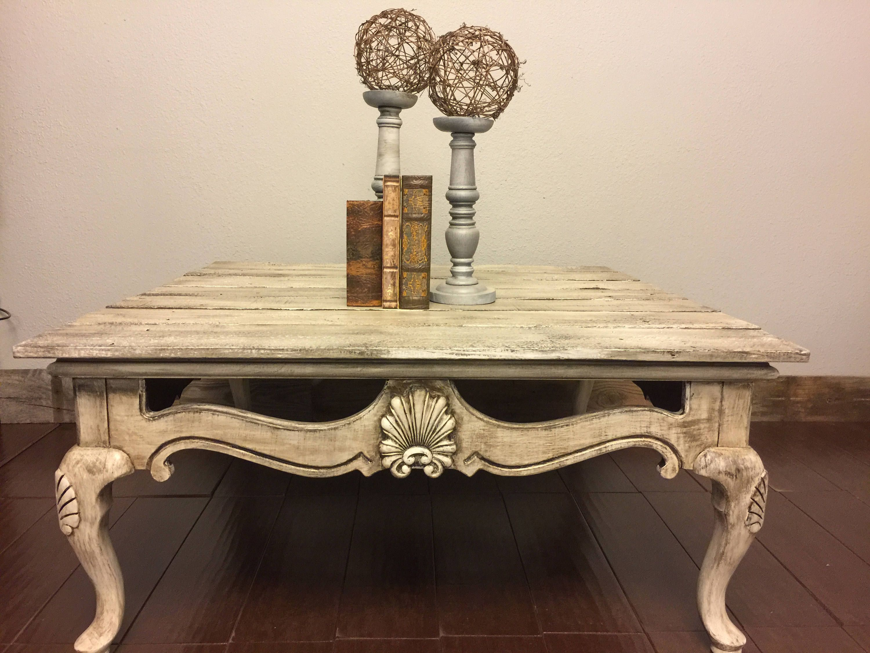 - Square Coffee Table, Country Cottage, Farmhouse, Shabby Chic