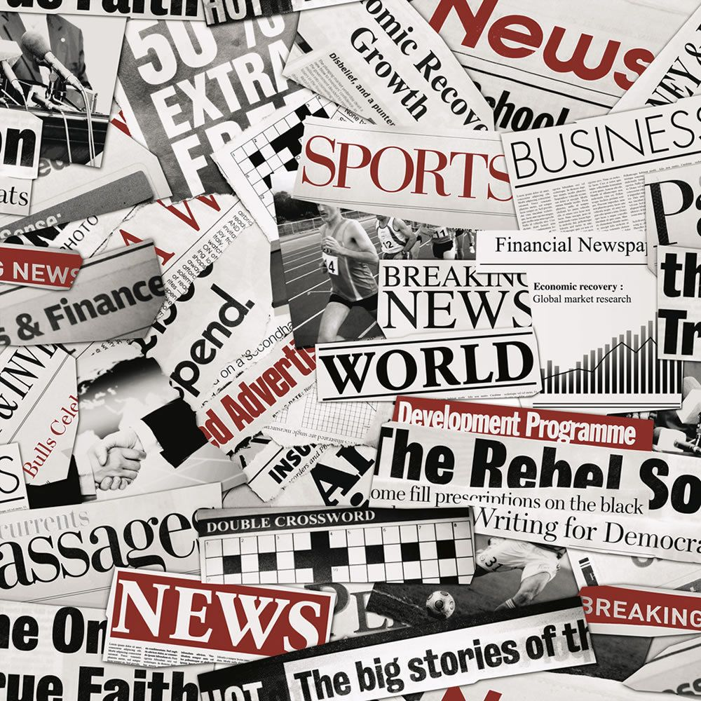 MURIVA BLACK WHITE FLEET STREET NEWSPAPER FEATURE DESIGNER WALLPAPER 102511