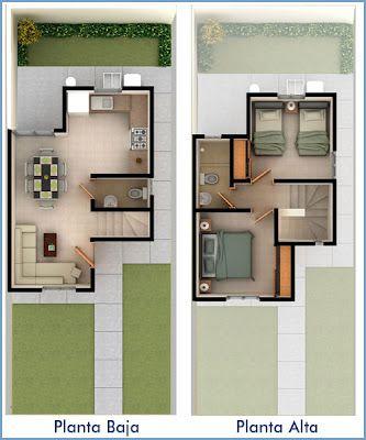 Planos De Casas Y Plantas Arquitectonicas De Casas Y Departamentos 2 Recamaras Planos De Casas Pequenas Planos De Casas Casas De Dos Pisos