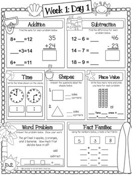 Language Arts Math Summer Fun Packet 2nd Grade Summer Math