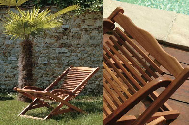 Transat à bascule en bois exotique teck 125cm - Tek Import - Tek ...