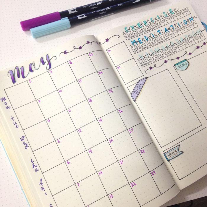 Bullet journal my may set up for Kalender design