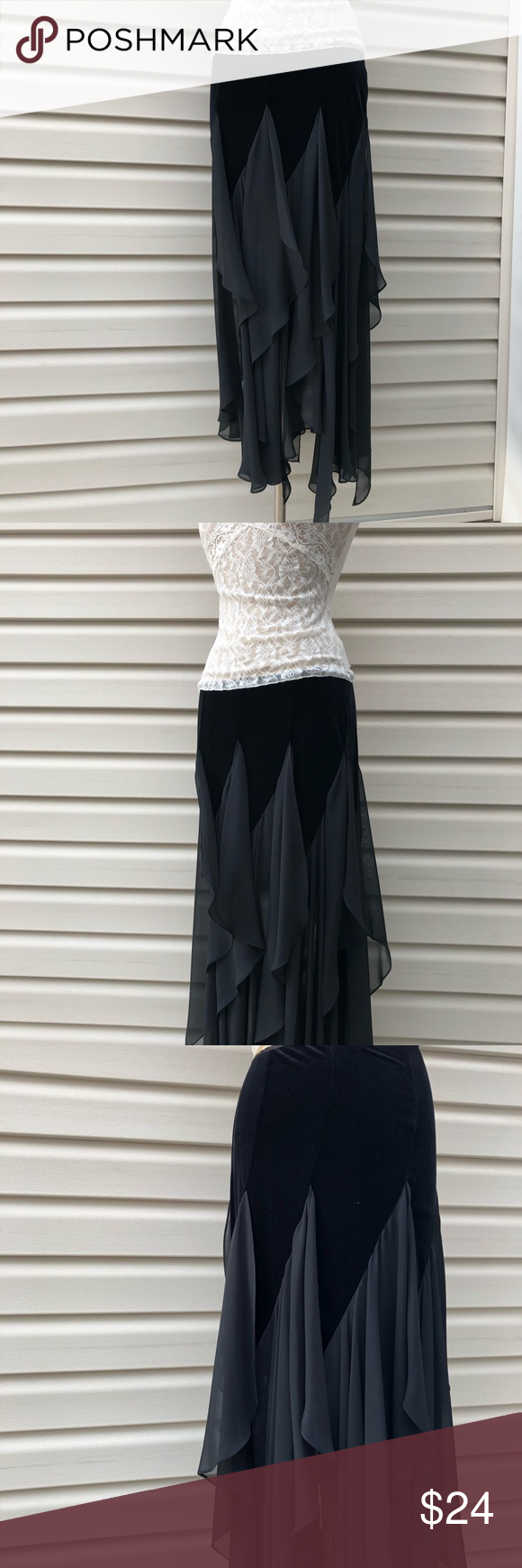 J.R. Nites velvet and sheer maxi skirt Beautiful skirt, the