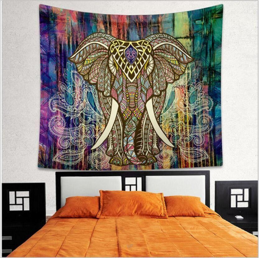 Indian Elephant Tapestry Mandala Boho Wall Hanging