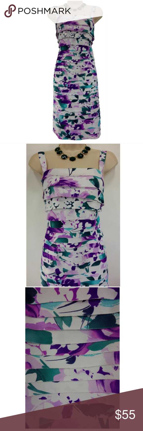 "Size 22W 3X FLORAL TIERED DRESS Wedding Plus Size We love this sexy, gorgeous, tiered dress for a very special occasion ~ Size: 22W Back zip Lined bust area Flattering tiered style Stunning floral print in shades of purple & green Measurements: Bust (armpit to armpit):  49"" Waist: 49"" Hips:  54"" relaxed Length: 41.5"" (top of shoulder to bottom hem)  Condition:  PRISTINE CONDITION!   Fabric Content: 97% Polyester 3% Spandex Fabric Care:  Machine Wash Dressbarn Collection Dresses"