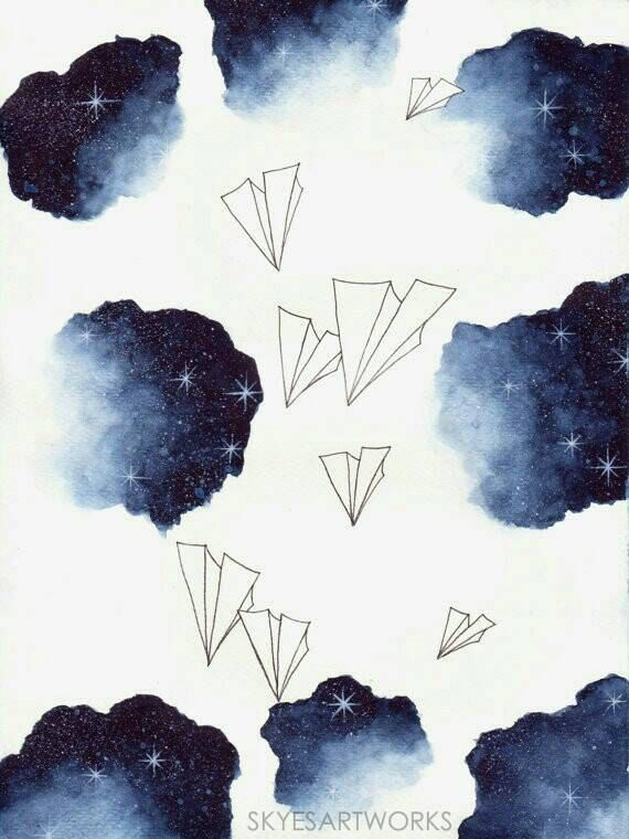 Space Paper Planes Watercolor Art Print Paper Size 14x19cm Or