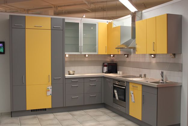 Two Tone Grey And Yellow Kitchen Cabinets