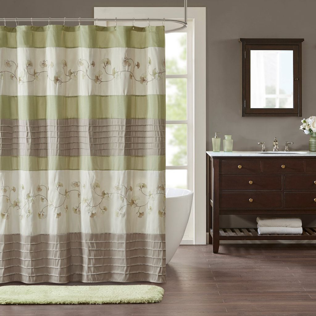 Madison park rachel embroidered shower curtain green products