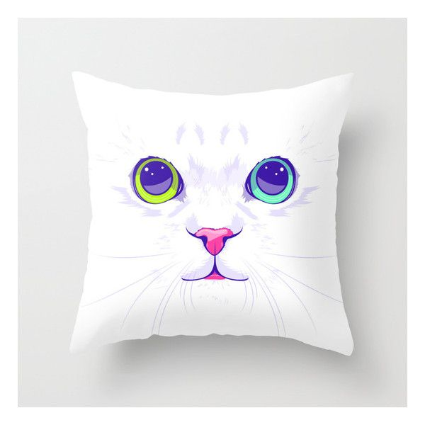 White Cute Cat Indoor Cover  Include Pillow Insert Throw Pillow by Oh Wow!. Illustration, Graphic Design, Vector, Animal. Throw Pillow made from 100% spun poly…