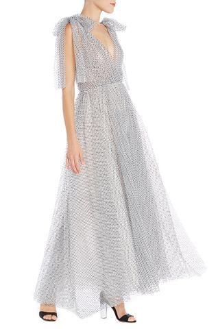 flocked dot tulle vneck gown  12 / silk white noir dot