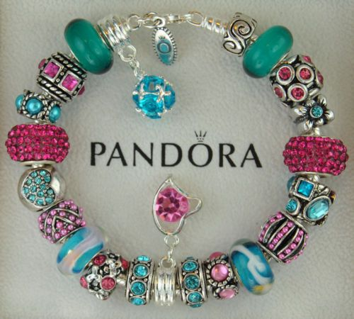 9792bf750 Authentic Pandora Sterling Silver Bracelet w Charm Pink Turquoise Blue  Pave' | eBay