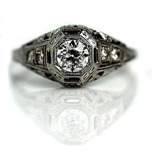 Antique Engagement Ring Art Deco Diamond Ring 18K White Gold Engagement Ring 1930s Hexagonal  Antique Engagement Ring Art Deco Diamond Ring 18K White Gold Engagement Ring...