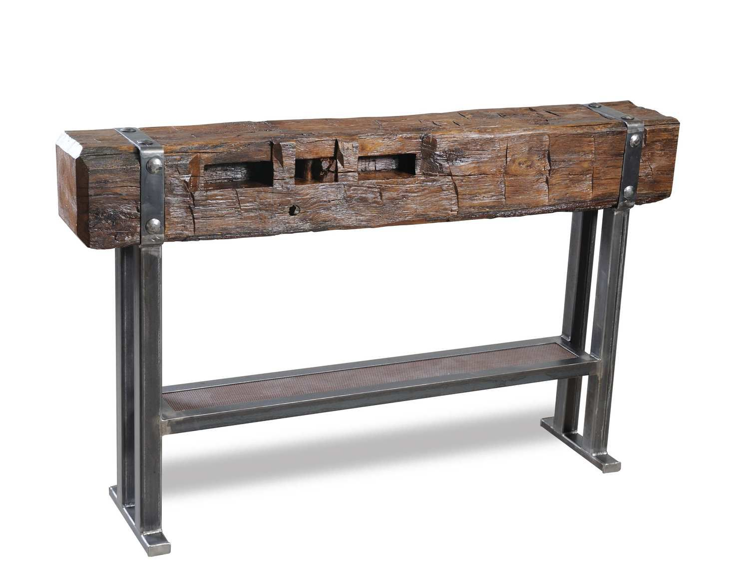 Bar beam tables beam bar table console made from steel for Wood beam coffee table