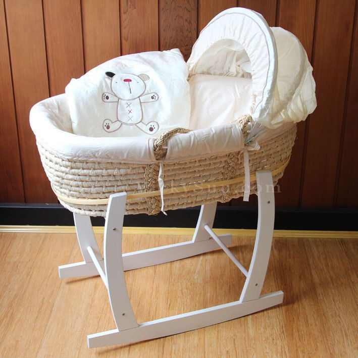 Baby Moses Basket Bassinet With White Wooden Head To Toe Rocking