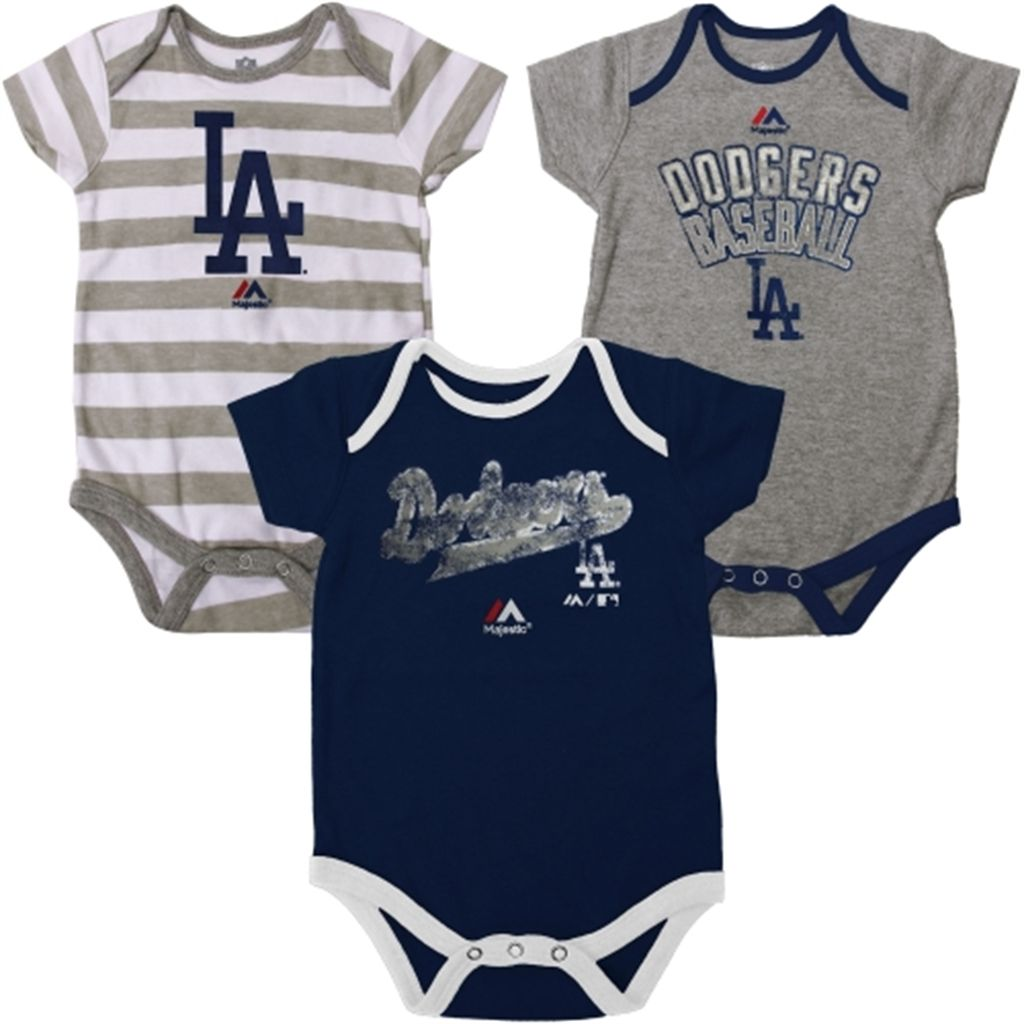 L A Dodgers Majestic Newborn Triple Play 3 Piece Creeper Set
