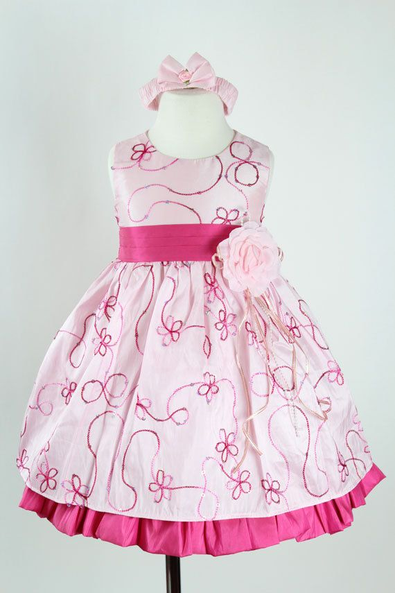 a27bcee557 Flower Girl Dresses - PINK FUCHSIA Taffeta Embroidery - Easter Wedding  Recital Pageant - For Toddler