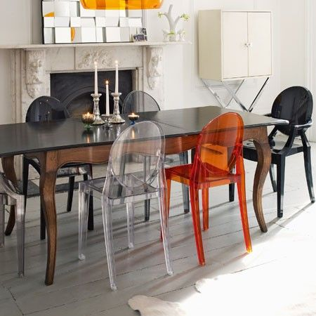 Love The Victoria Version Of Philippe Starcks Ghost Chair For Kartell Six Louis ChairsEclectic Dining RoomsColorful