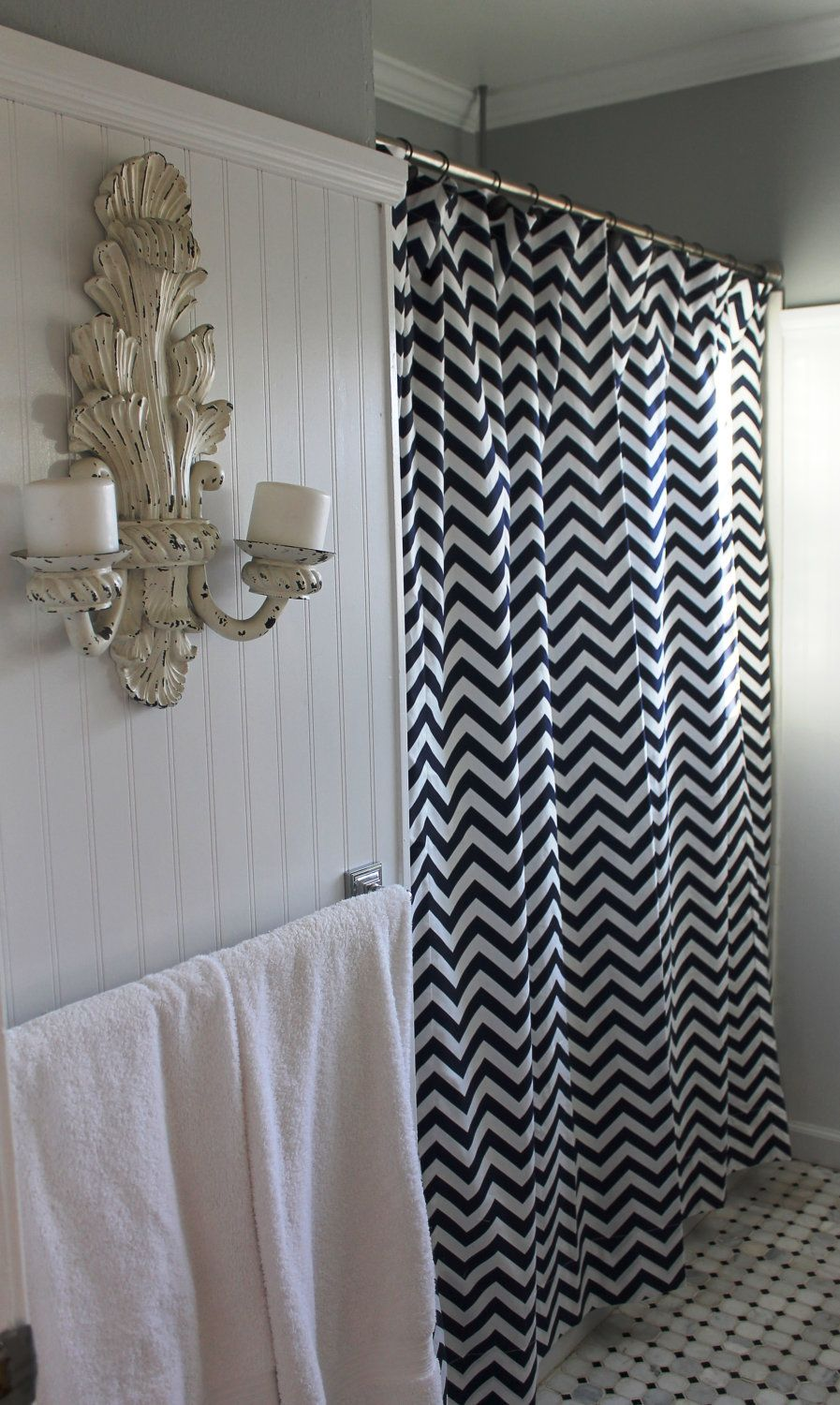 Good Chevron Zig Zag Shower Curtain Paired With Shabby Chic Wall Sconces.