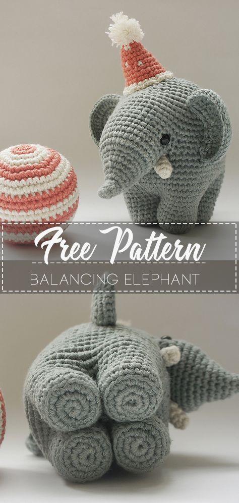 balancing elephant – Pattern Free  #crochet