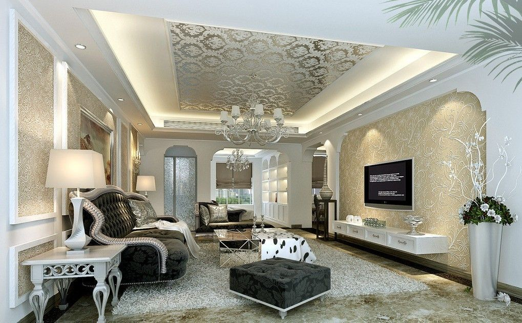 Best Living Room Wallpaper Designs Alluring Traditional Living Room With Astek Mood Living Equus Silver On 2018