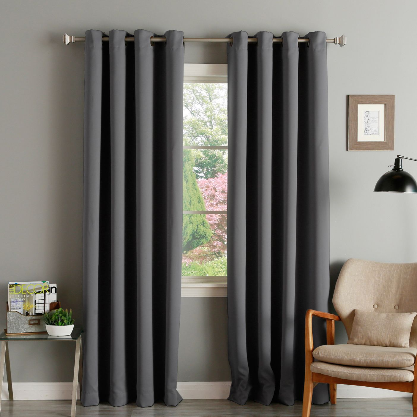 Aurora Home Thermal Insulated Blackout Grommet Top 84 Inch Curtain