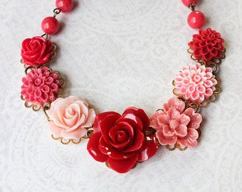Coral Rose Necklace Statement Floral Necklace Light Grey Sage Etsy In 2020 Flower Bib Necklace Unique Jewelry Gifts Rose Necklace