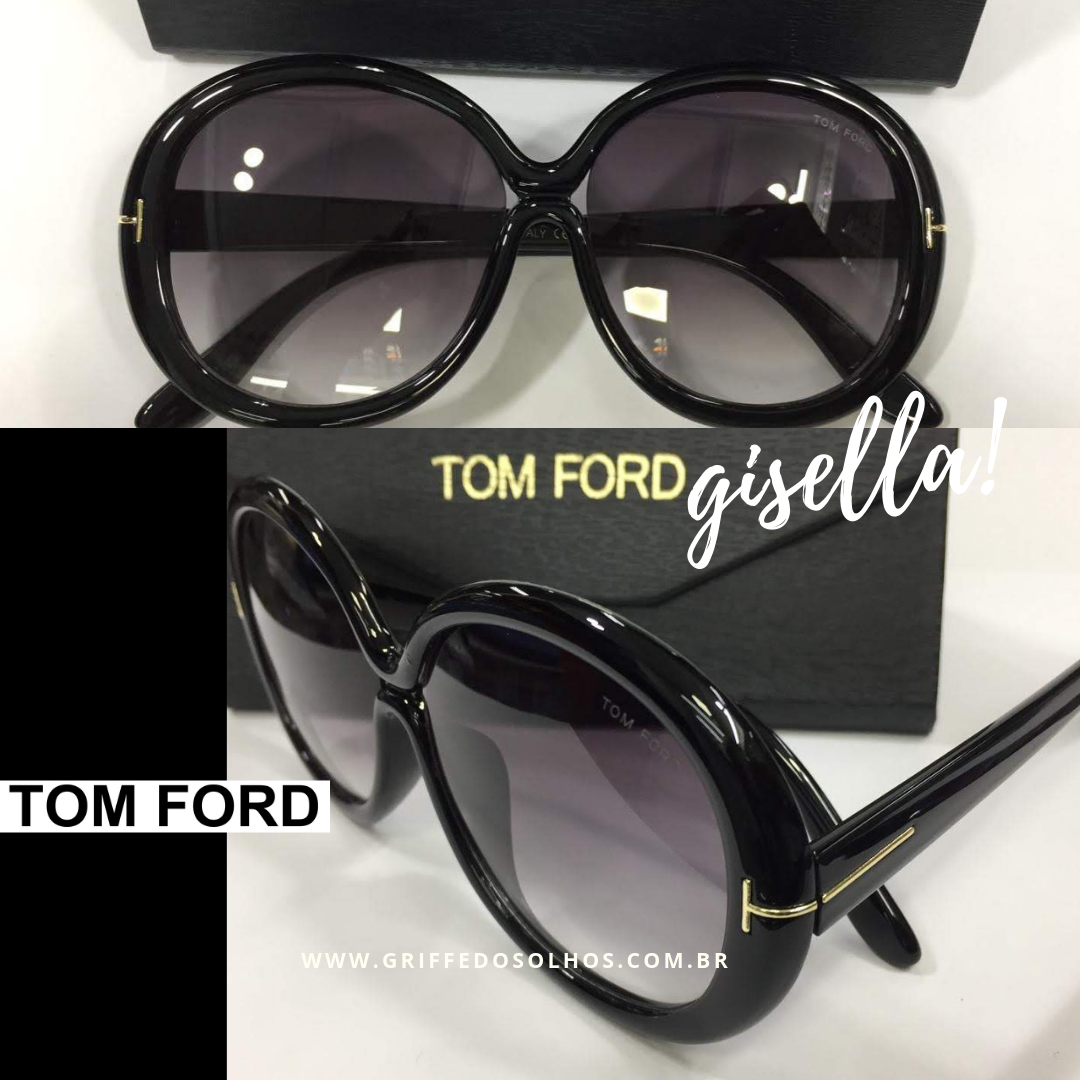102ad5d234cdb Óculos de Sol Tom Ford Redondo Preto FT038801 GISELLA Marca  Tom Ford  Obs Foto