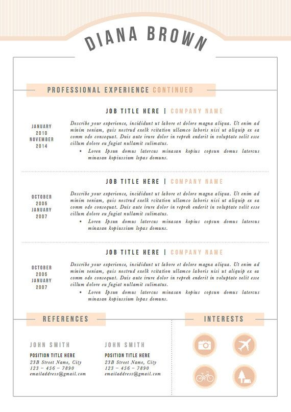 3pk Resume / CV Template Cover Letter for MS by TheResumeBoutique