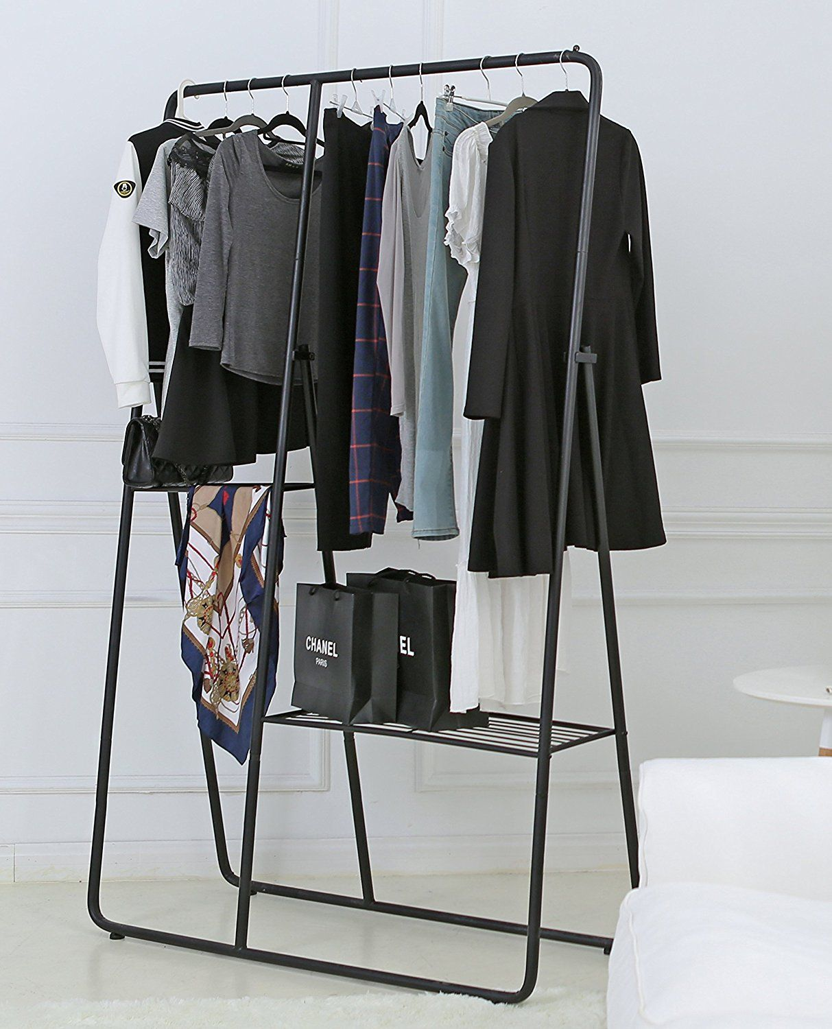 Amazon.com: Modern Metal Clothing Rack Closet Organizer, Garment Hanger Bar  U0026 Shelf