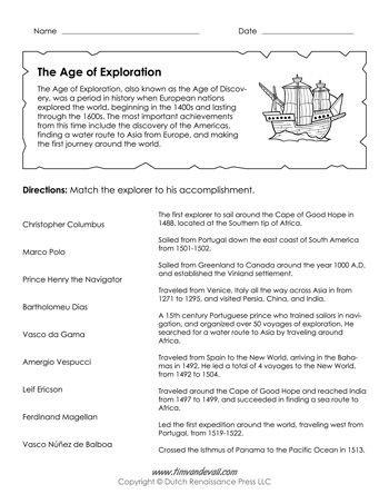 Age Of Exploration Worksheet Explorers Unit Pinterest