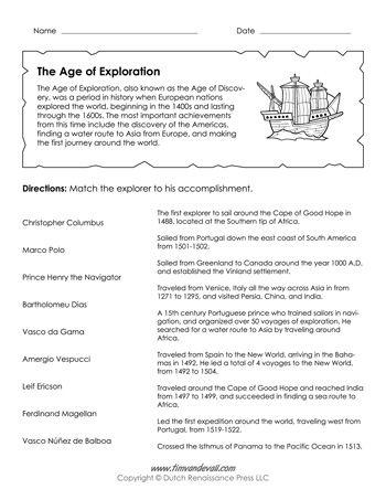Age Of Exploration Worksheet  Explorers Unit