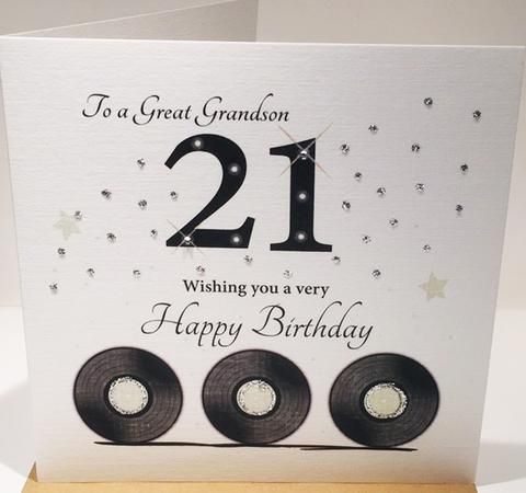 21st Birthday Card Grandson 6 X 6 Inches Herbysgifts Com 21st Birthday Cards Happy 21st Birthday Cards Birthday Cards