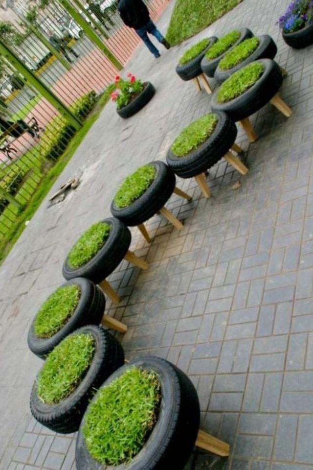 Mai uma dica de decoração com pneus - Verry creative cute tastefull and fun