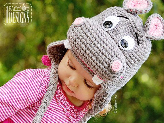 PATTERN Happy Hippo the Hippopotamus Hat Crochet PDF Pattern ...