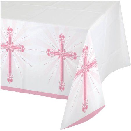 Blessings Pink Plastic Table Cover, Assorted