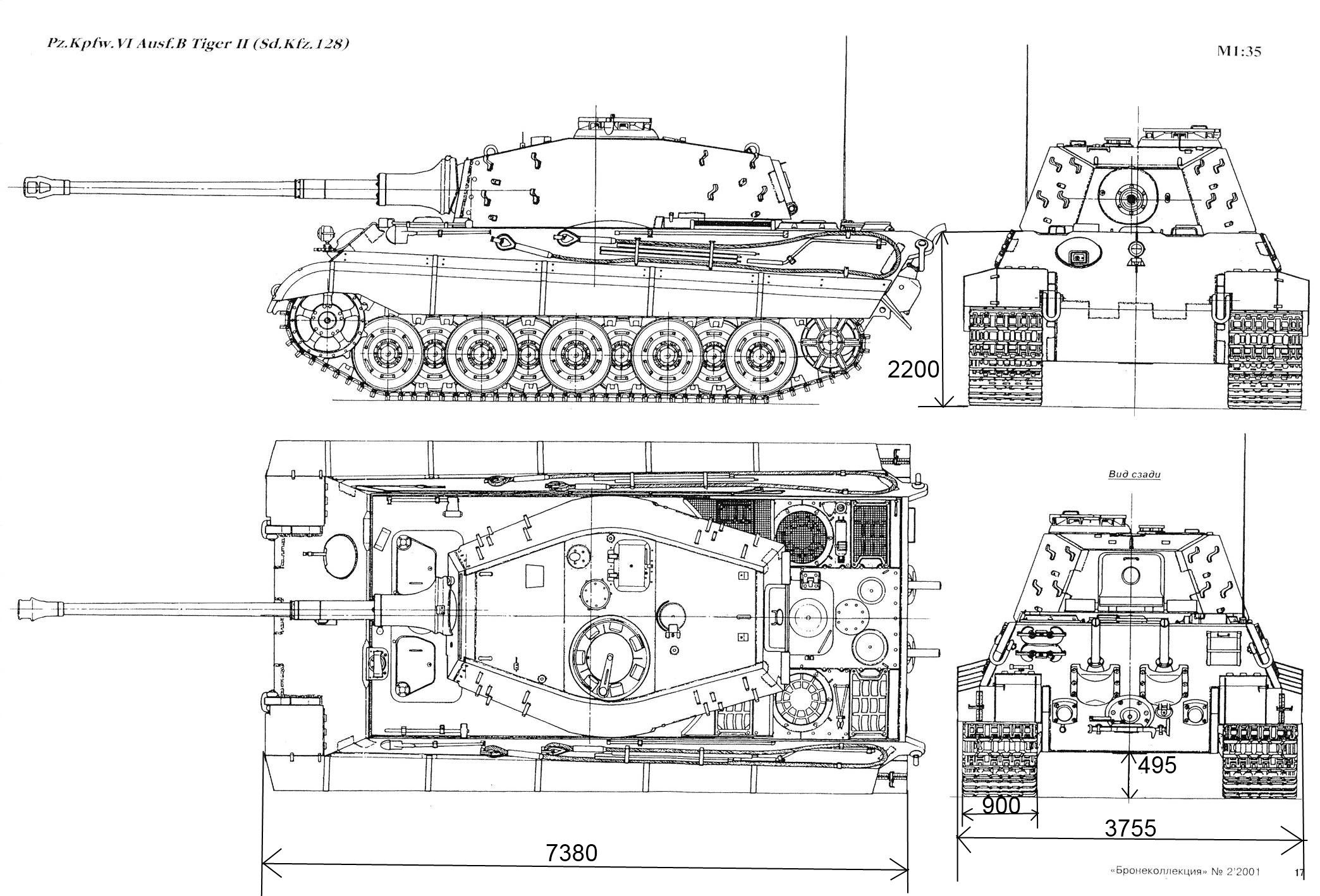 Blueprint 4 View Technical Drawing Of The Tiger Ii