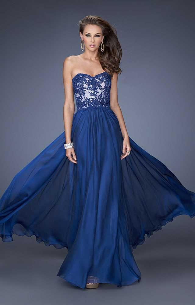 Marine Blue La Femme Fitted A Line Prom Dress 19605