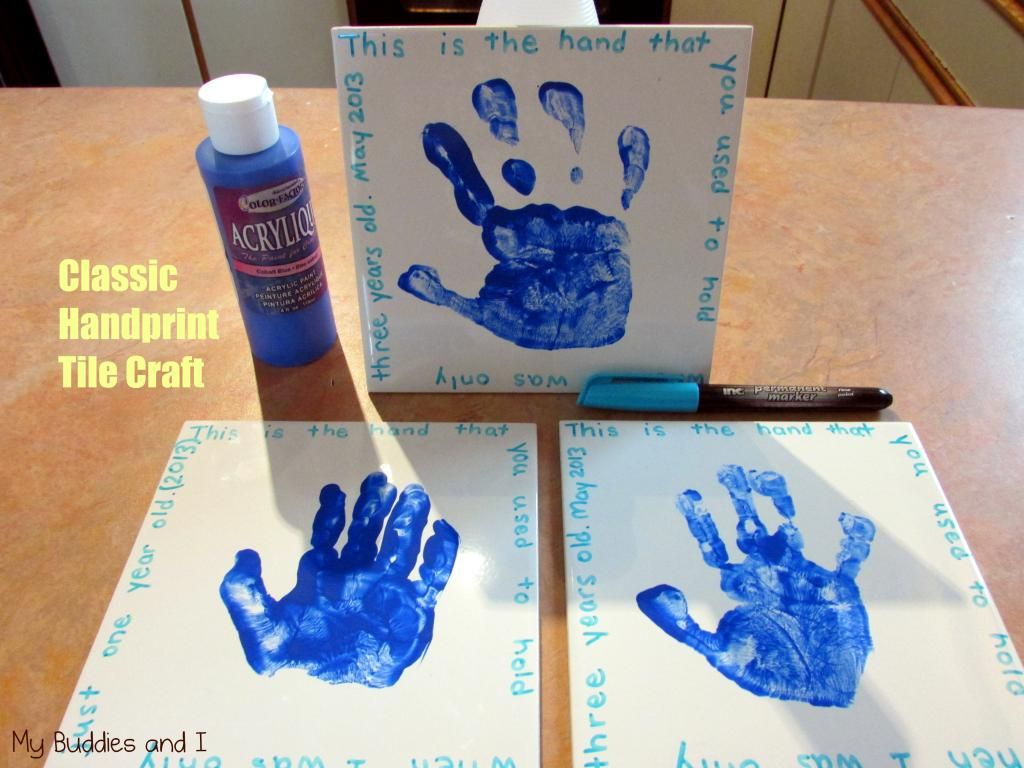 Small tiles for crafts - Handprint Tile Craft For The Kids To Make