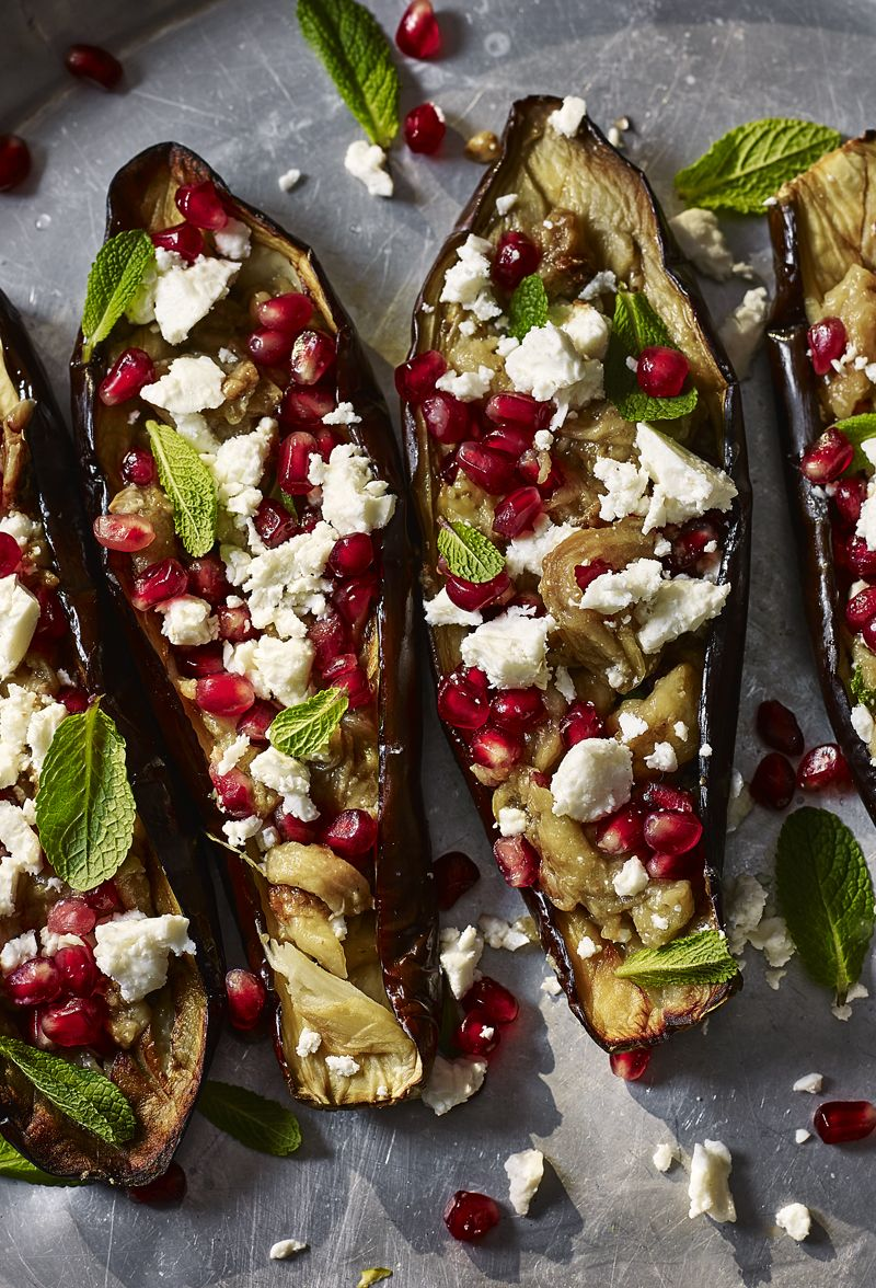 Stuffed Aubergine With Feta And Pomegranate