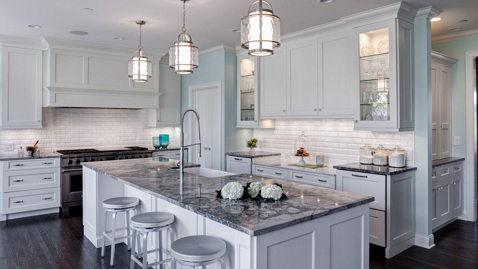 Island White Fantasy Granite Also Know As Aranascato Specialty Stone Light Grey Kitchens Grey Kitchen Island Traditional Kitchen Design