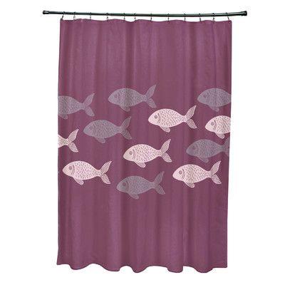 Beachcrest Home Rocio Polyester Fish Line Coastal Shower Curtain Color: Purple