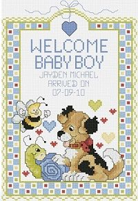 Free Printable Baby Birth Record Cross Sch Patterns Welcome Boy Kit 080 0469 Janlynn