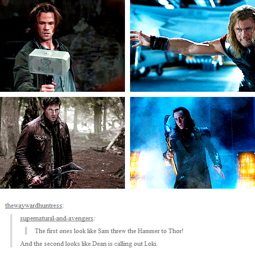 My two favorite things together Supernatural+Avengers=*fangirling*