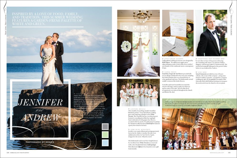 Jennifer & Andrew in Wedluxe Summer/Fall 2014. Photography