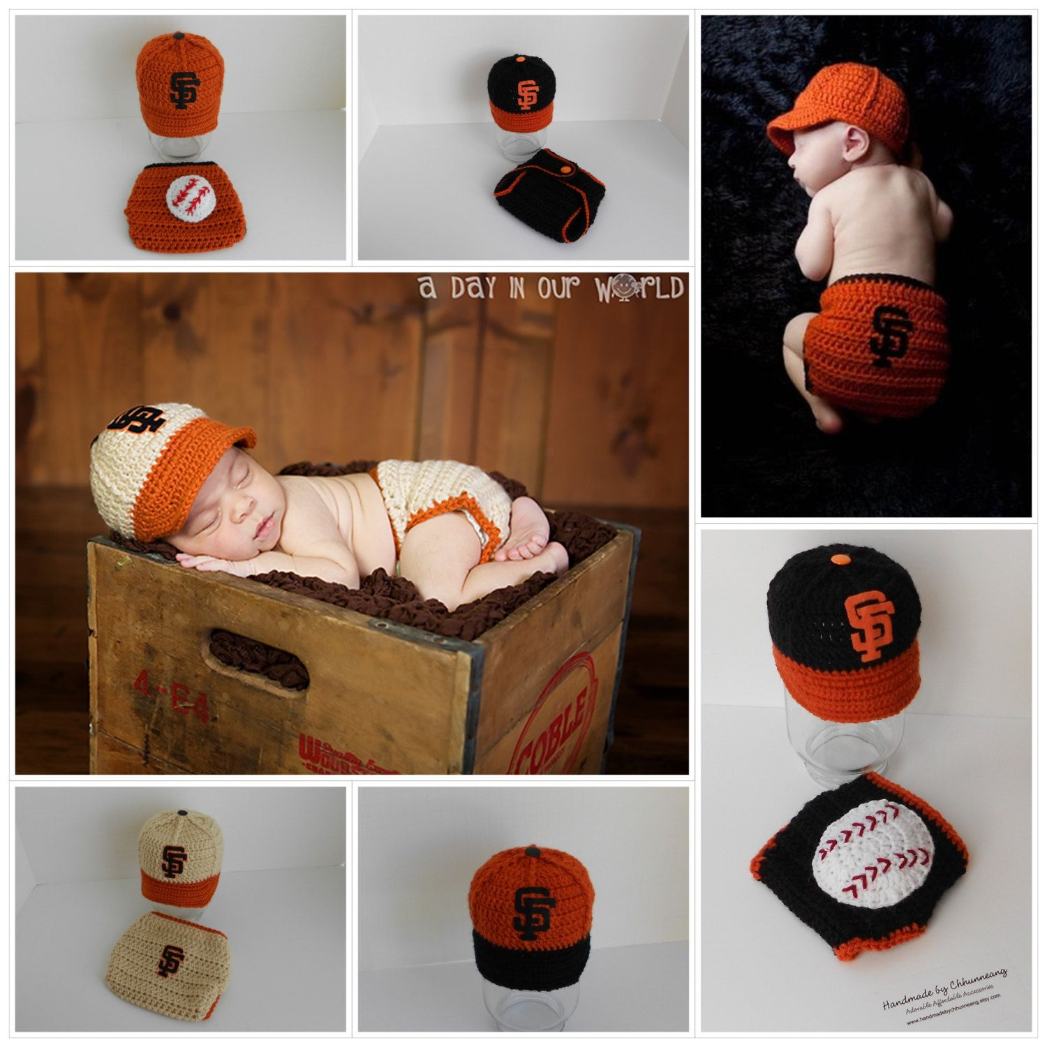 Baby Baseball Cap Hat Beanie And Diaper Cover In SF Giants Inspired