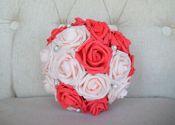 Coral and pink blush flower ball with bling pearl brooch kissing coral and pink blush flower ball with bling pearl brooch kissing ball pomander wedding centerpiece flower girl bridesmaid bouquet junglespirit