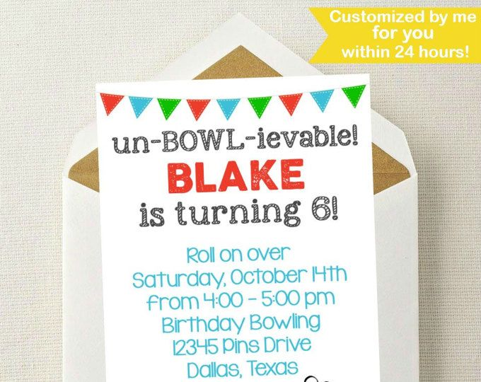 Bowling Invitation  Bowling Birthday Invitation  Bowling